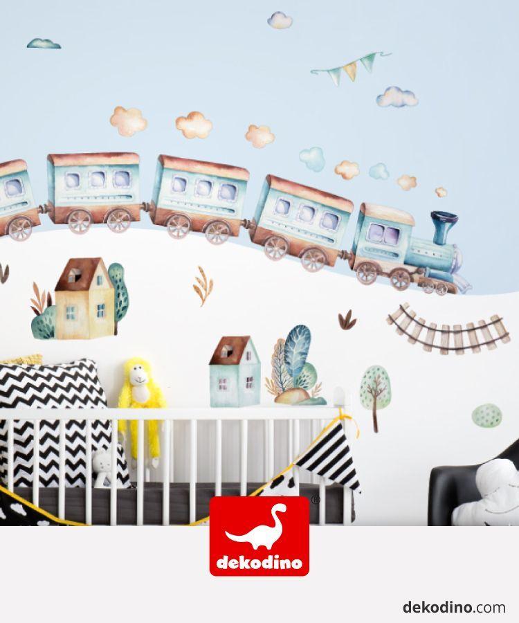 Wandtattoo Aquarell Lokomotive Mit Anhangern Mit Dem Zug Durch Das Kinderzimmer Anhanger Kinderzimmer Kinder Zimmer Kinder Zimmer Deko