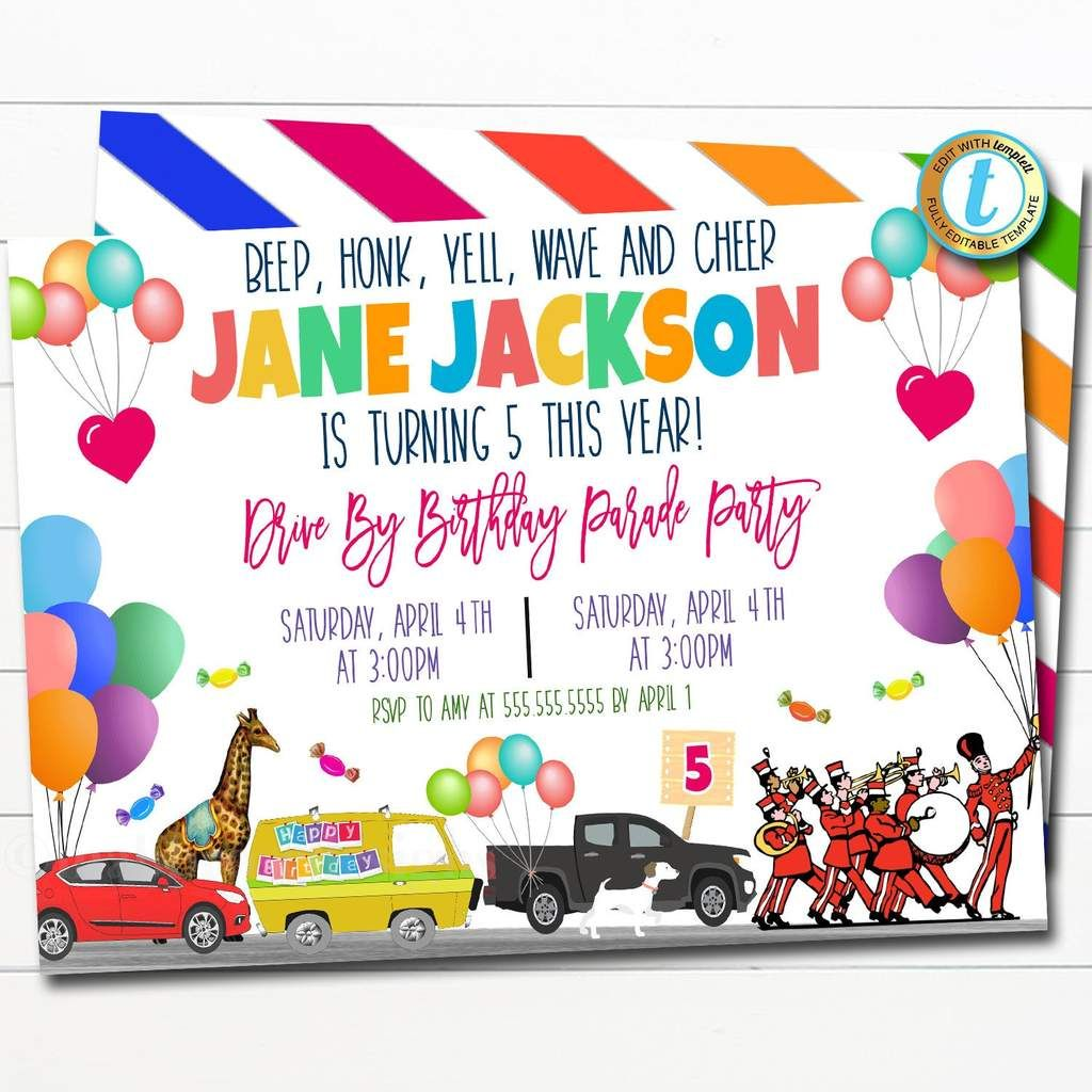 Drive By Birthday Parade Invitation Virtual Birthday Party Invitation Digital Kids Friend Party Invite Instant Download Editable Template In 2020 Party Invite Template Birthday Party Invitations Party Invitations