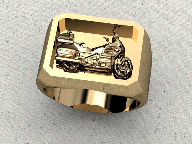 Goldwing Motorcycle Ring Sterling Silver