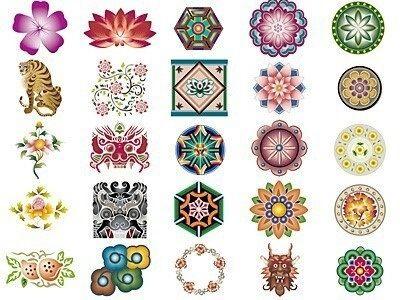 Korean Art Flowers 중국 패턴 한국의 미술 패턴