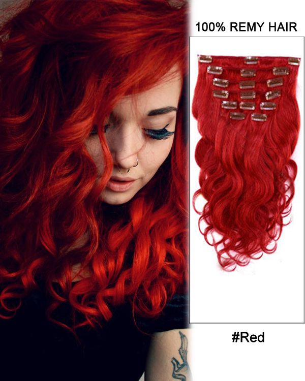 16 Inch 8pcs Body Wave Brazilian Clip In Remy Hair Extensions Red