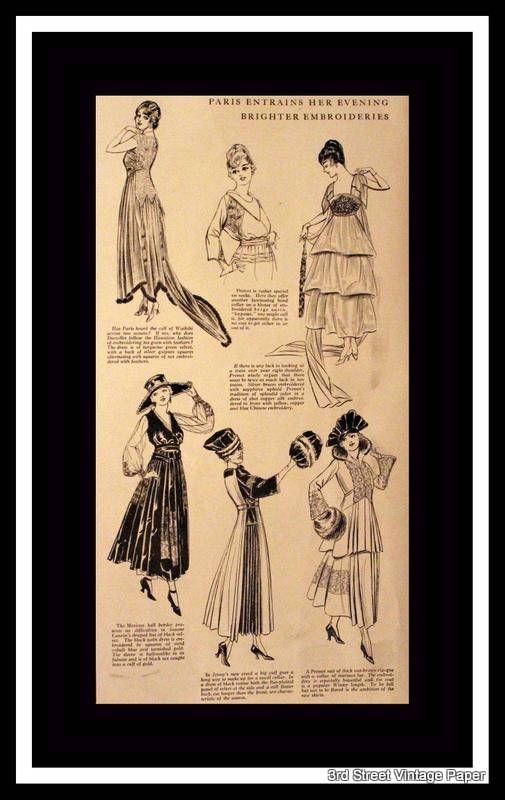 1916 Fashion Page Ad w Sketches Wall Art Home Decor Bath | Vintage ...