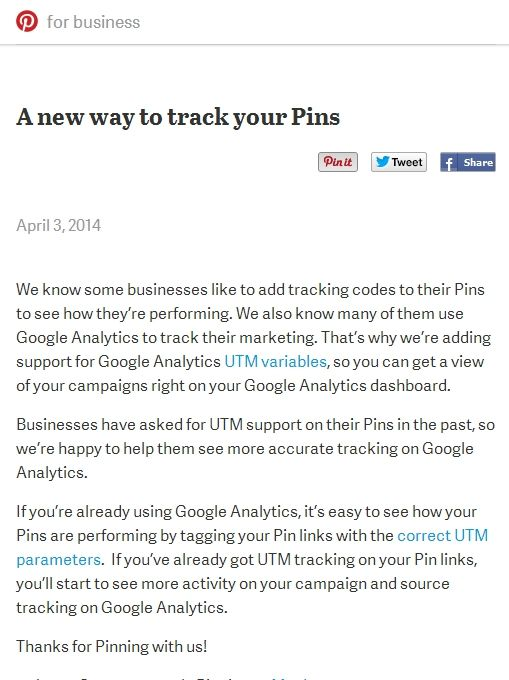 A New way to track your pins on google analytics with UTM tracking codes http://businessblog.pinterest.com/post/81585488878/a-new-way-to-track-your-pins