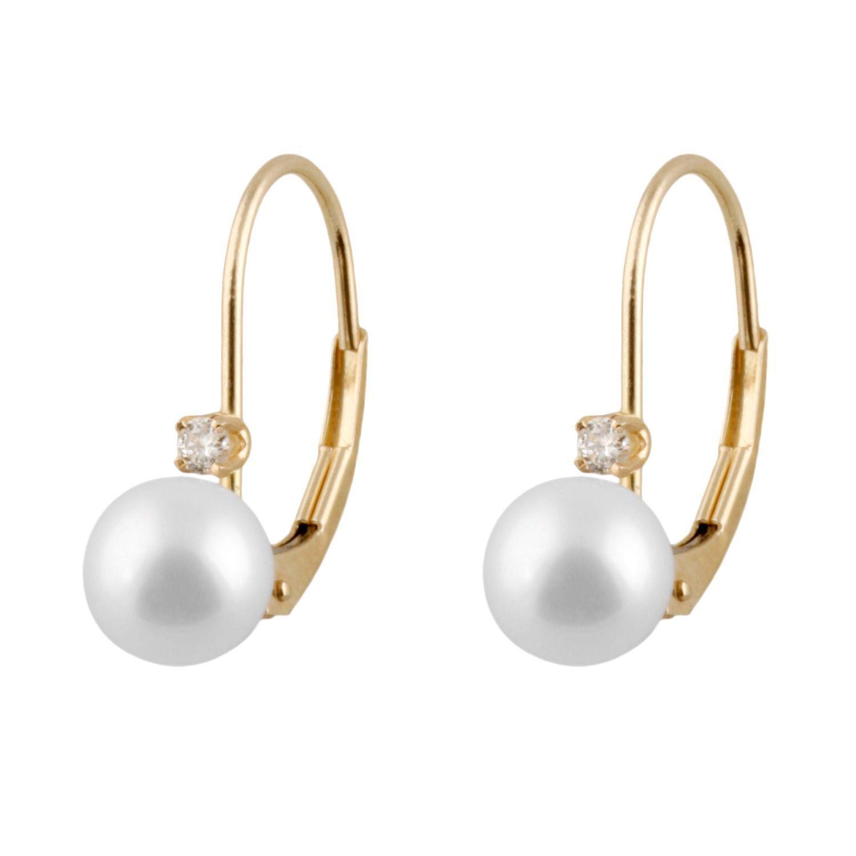 14k Gold Freshwater AA Pearl Leverback Earrings