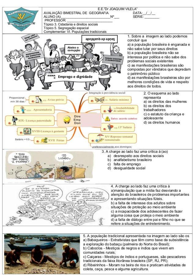 Prova De Geografia Sobre Cidadania E Direitos Sociais Segregacao