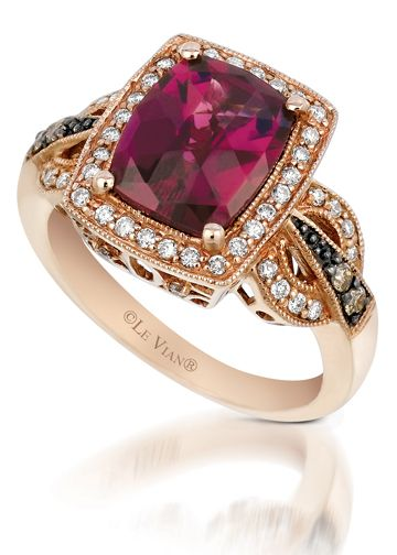 LeVian Rhodolite Garnet Ring in 14kt Rose Gold with Chocolate and White Diamonds