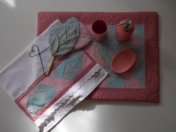 Conjunto para Lavabo, técnica: Foundation or paper piecing, By PatchPoa