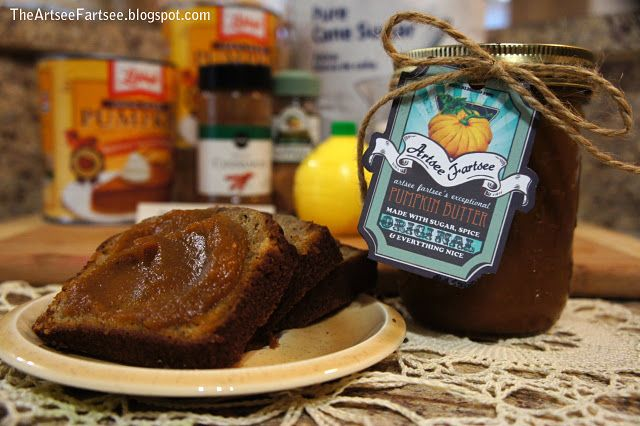Homemade pumpkin butter recipe and customized label.