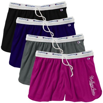 Champion women's mesh shorts in purple, pink, charcoal, or black with vertical Northern Iowa. $26.99