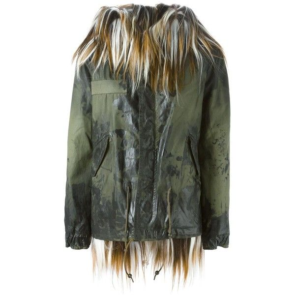 Mr & Mrs Italy Fur and Shearling Lined Parka (775 KWD) ❤ liked on Polyvore featuring outerwear, coats, green, green fur coat, shearling lined coat, green parka coat, green parka and parka coat