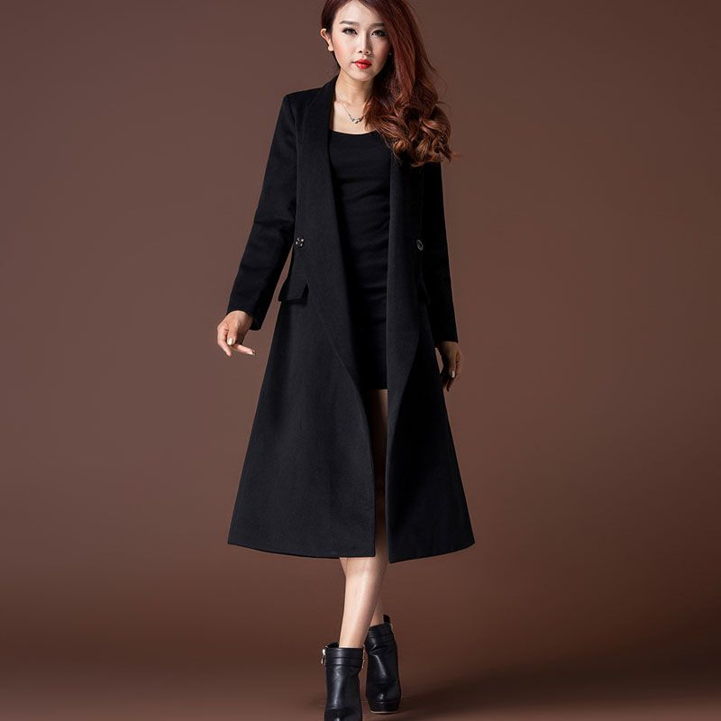 2015 Autumn And Winter Cashmere Trench Coat Women Fashion Long ...