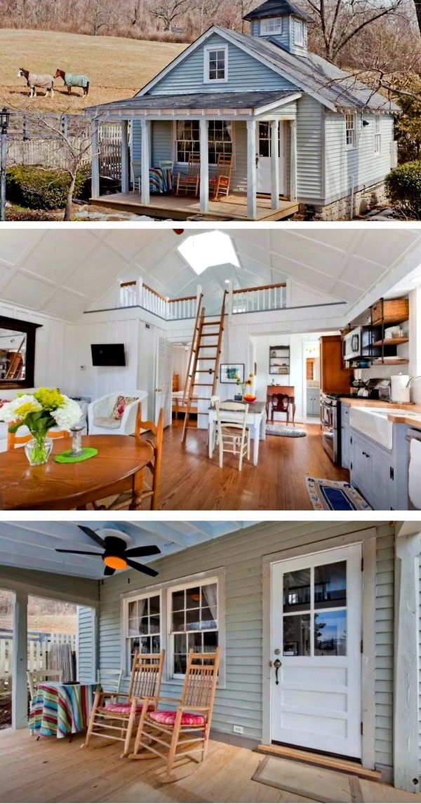 Cozy Farmhouse Cottage Has Modern Remodeled Interior The Farmhouses Exterior Features A Quaint Porch With