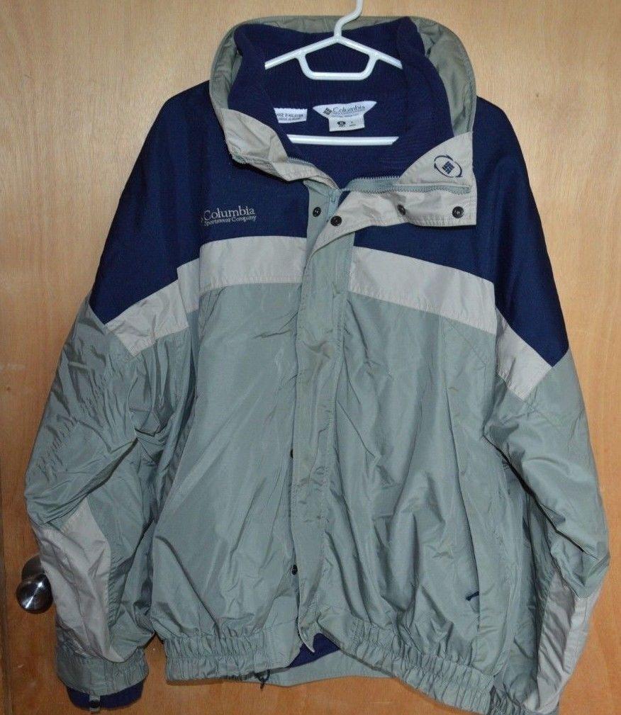 menus winter columbia fleece lined jacket size xl blue grey