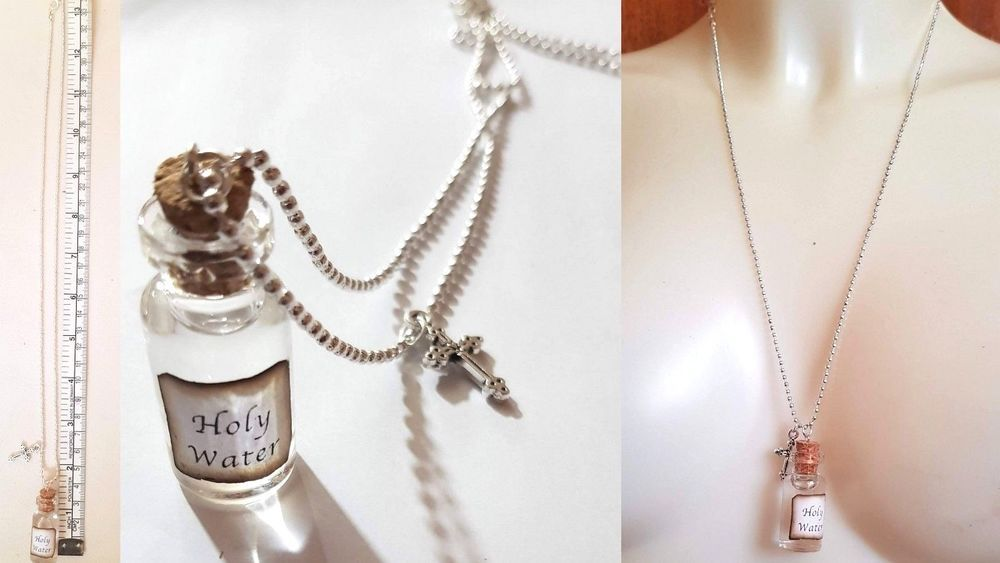 Details about glass bottle pendant necklace holy water