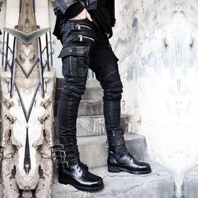 Mens Motorcycle Black Street  Punk Gothic Long Trousers Casual Pants Zip Pants