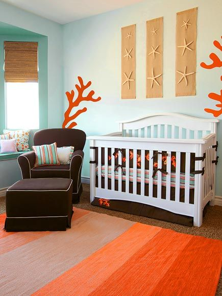 Gender Neutral Ocean Nursery With C And Turquoise