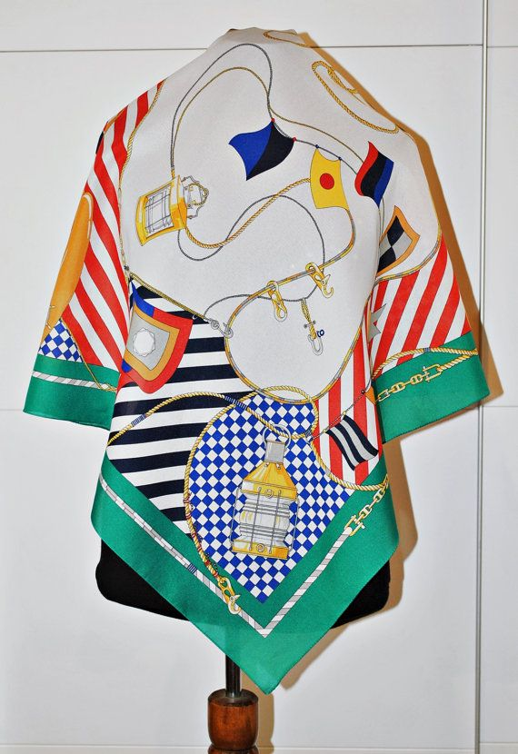 c27318cc8ef8f Vintage Nautical Print Scarf / Green Red and Blue stripes / square scarf /  lantern print / boat print
