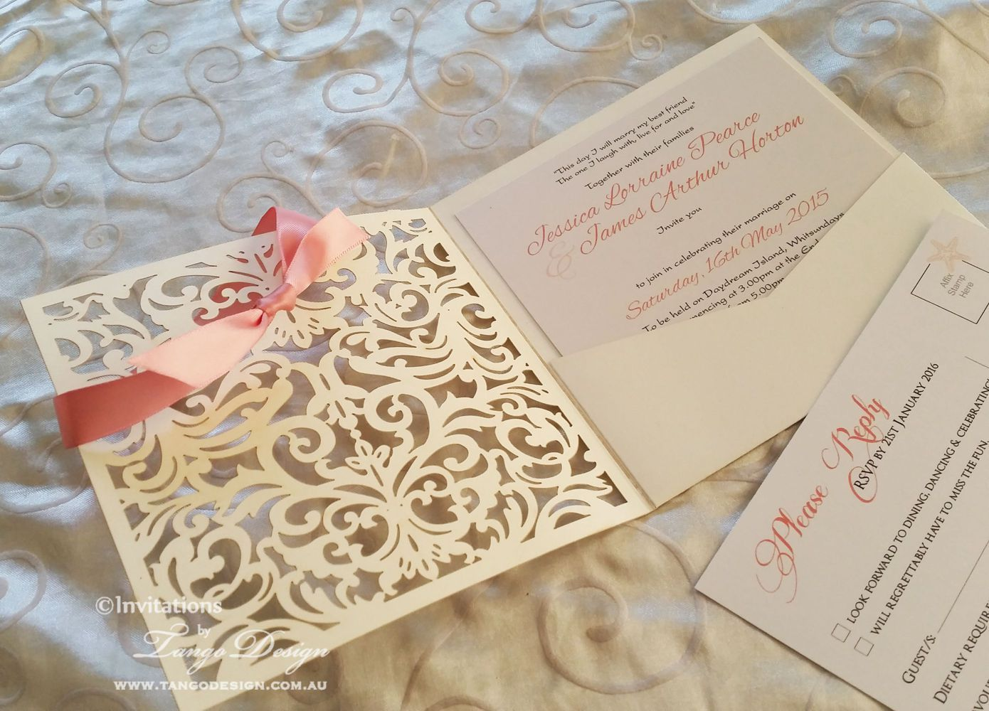 Lasercut weding invitations, with cut out lace front and pocket ...