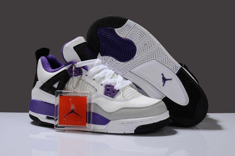 Nike Air Jordan 4 Dames Schoenen in Wit and Paars Bestellen