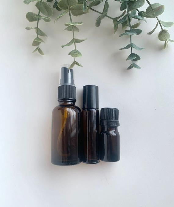 This Set Is Three Amber Essential Oil Bottles One 30ml Spray Bottle One 10ml Roller Bottle One 5ml Bottle This Set Of Bottles Are Empty And Ready To Be Filled In 2020