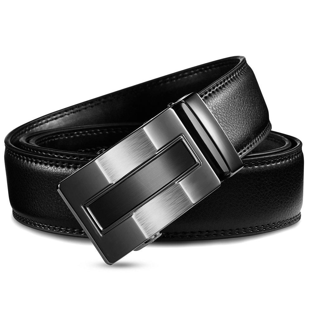 Men/'s Belts Genuine Leather Ratchet Dress Belt with Automatic Sliding Buckle