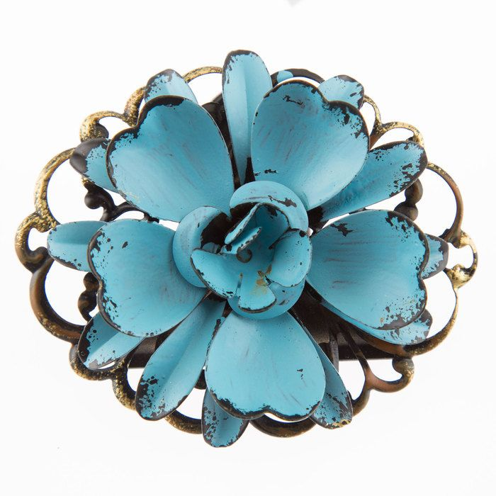 Turquoise Flower Metal Clip (With images)   Mirror wall ...