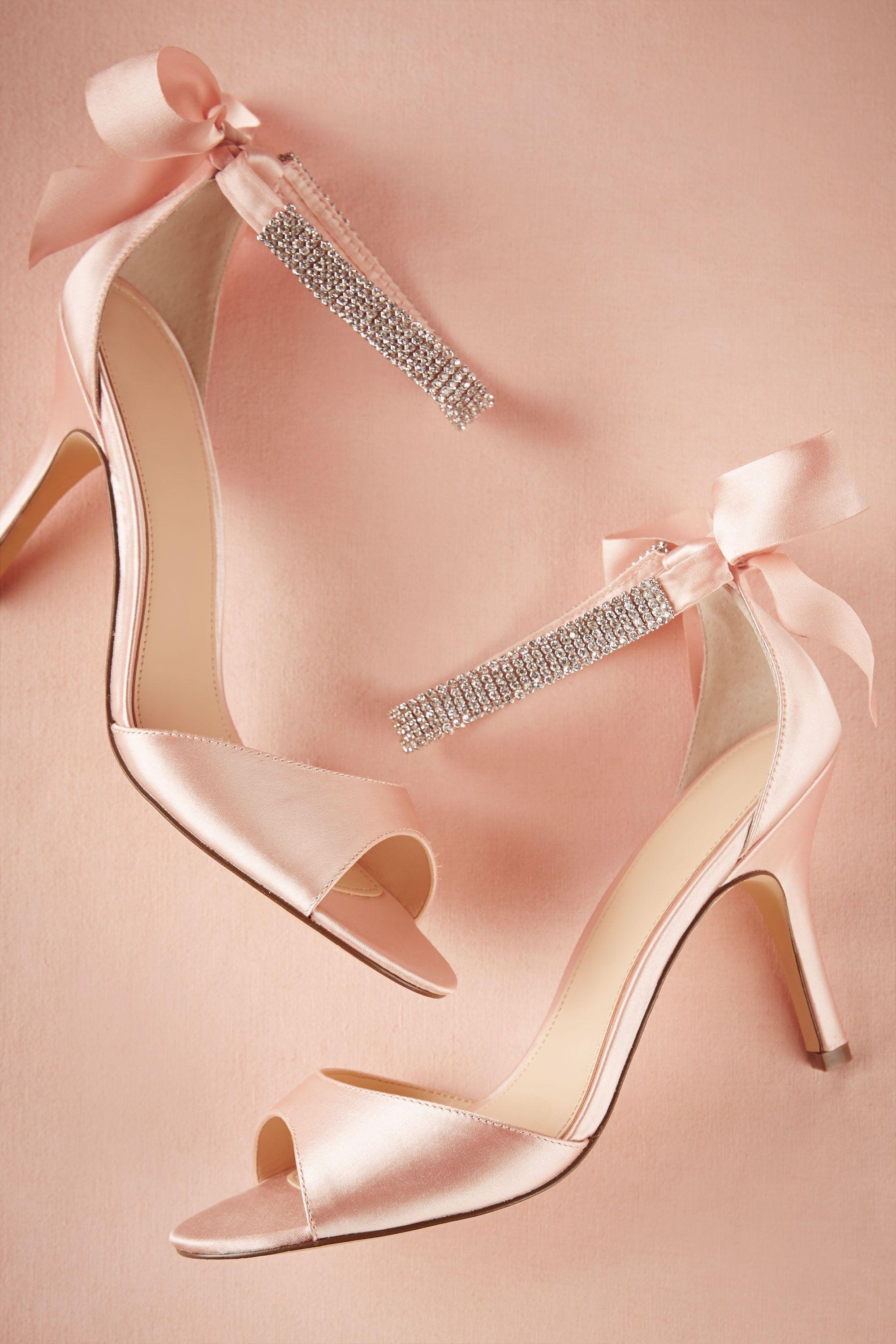 Crystal Bow Heels Bridal sandals, Bow heels, Pink