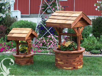 Wooden wishing well planter amish furniture crafts for Garden wishing well designs