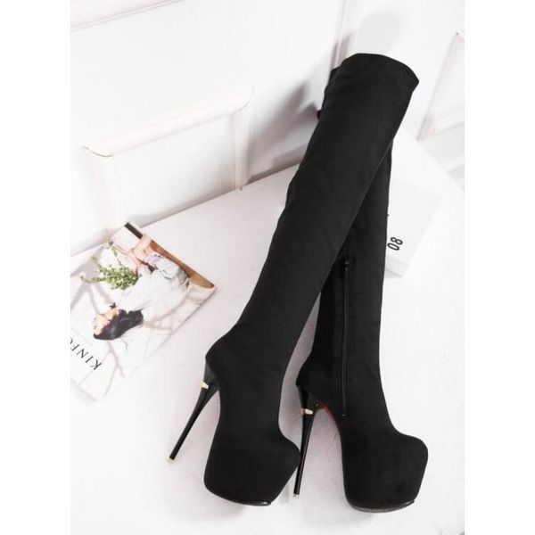 Wholesale Fashionable Solid Platform High Heel Long Boots