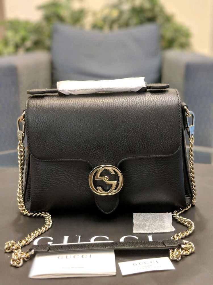 381e45d3c52e GUCCI 510302 Interlocking G Buckle Black Leather Convertible Chain Leather  Bag