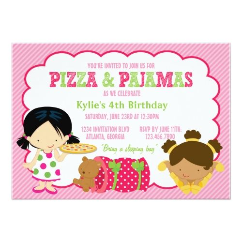 Pizza Birthday Party Invitations Pizza and Pajamas Sleepover Party - best of invitation party card