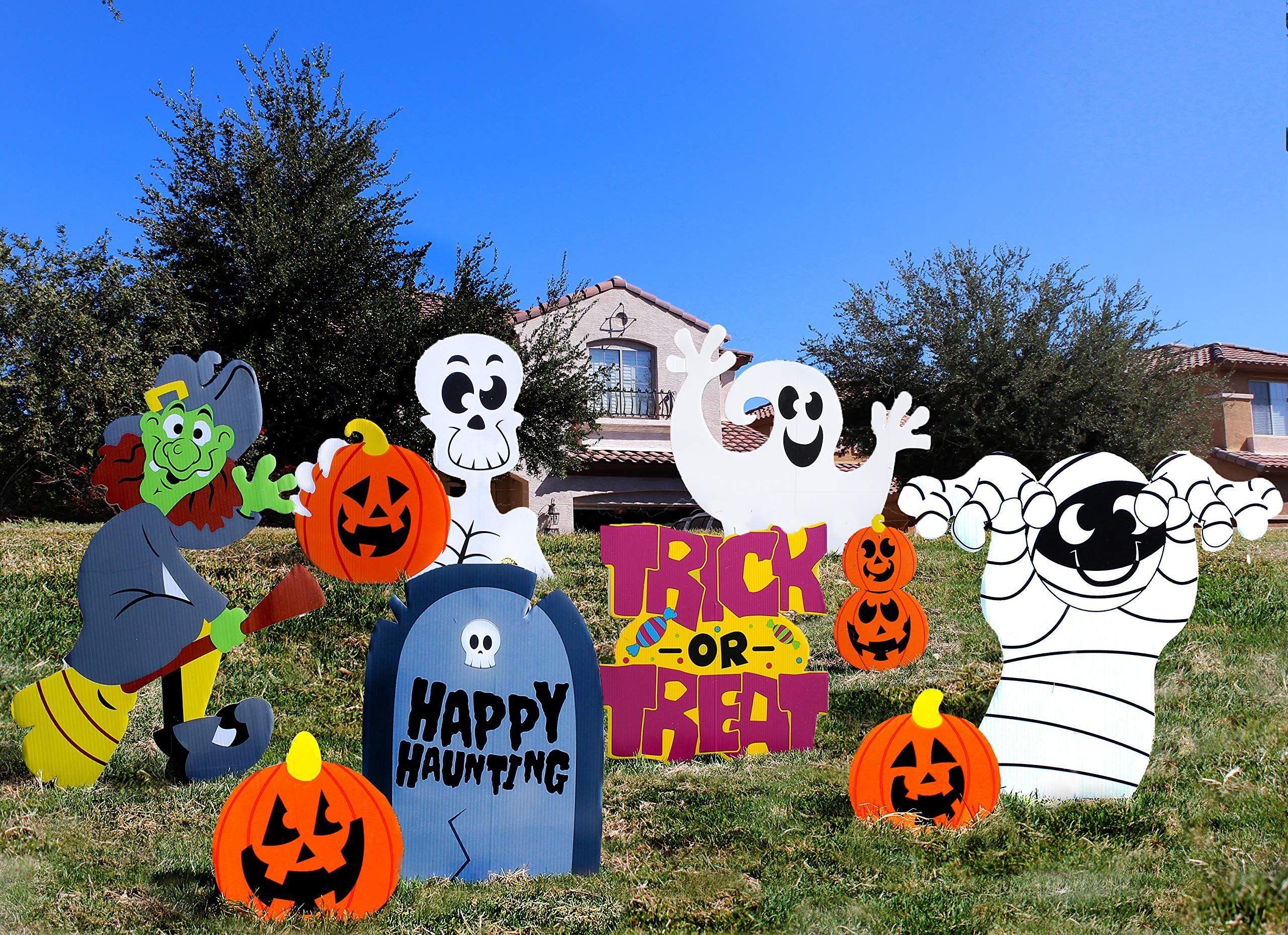 JOYIN Friendly Halloween Corrugate Yard Stake Signs 9
