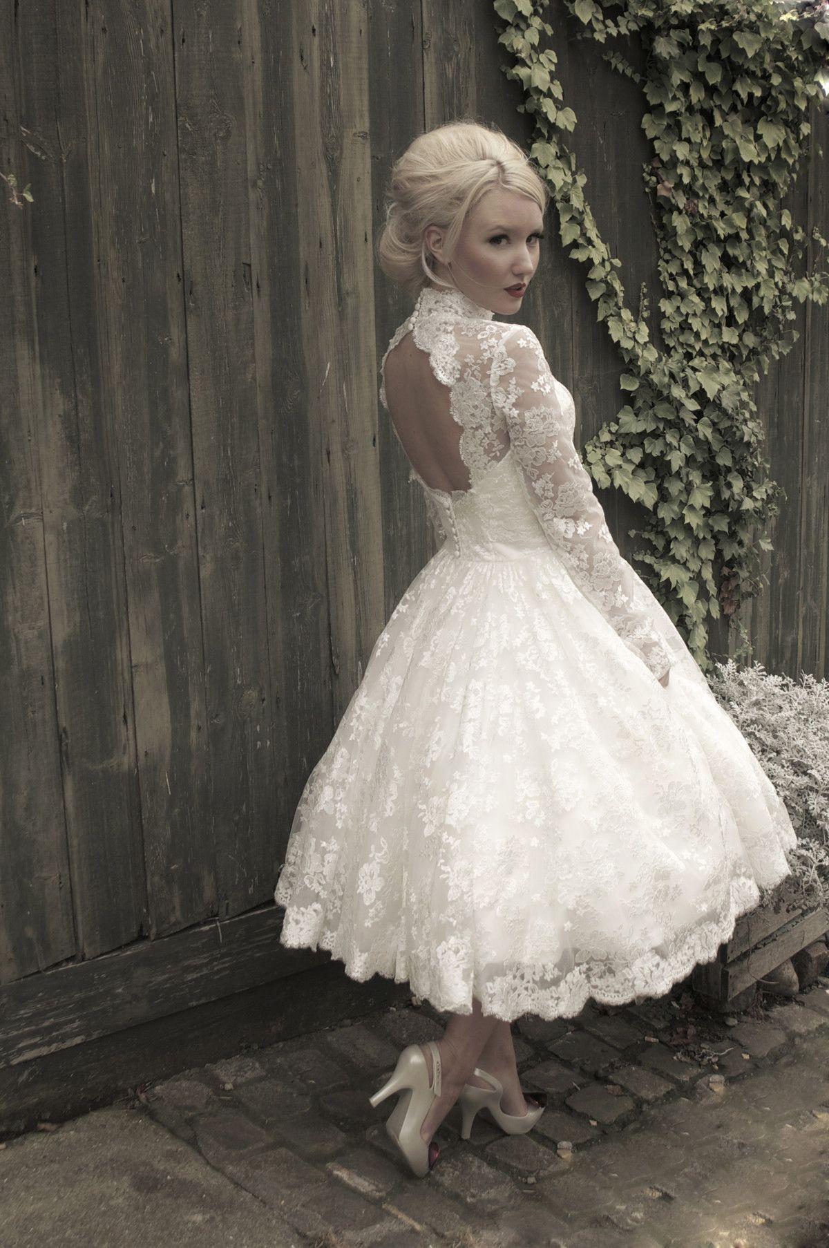 Tea Length Lace Wedding Dresses High Collar Long Sleeves
