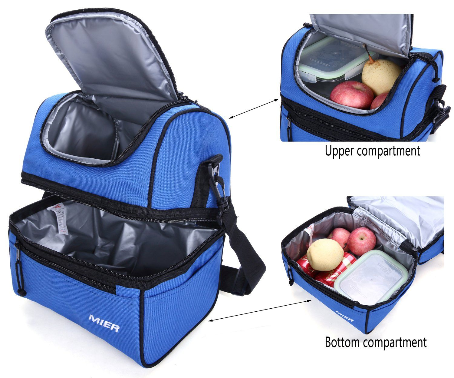 Mier Adult Lunch Box Insulated Lunch Bag Large Cooler Tote Bag For Men Women Double Deck Coolernavy Blue Cooler Tote Bag Mens Lunch Bag Insulated Lunch Bags