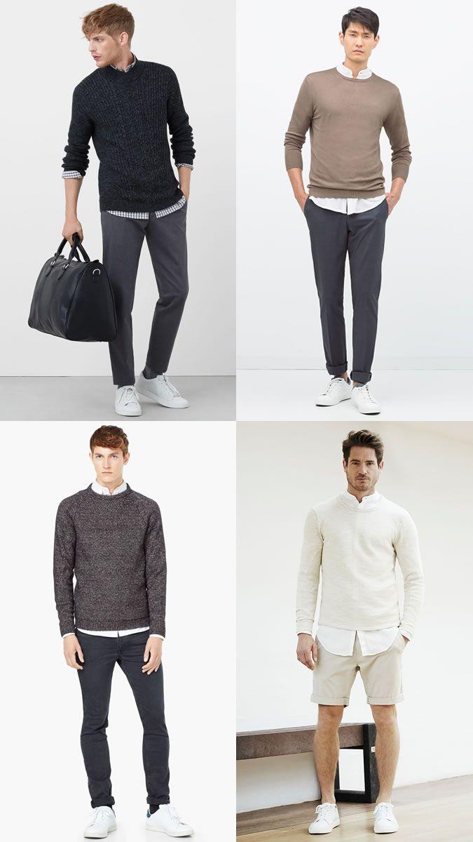 0dc394bfa314 Men s Ways To Layer Between Summer   Autumn  Lightweight Jumper + Shirt  Layering Combination Outfit Inspiration Lookbook