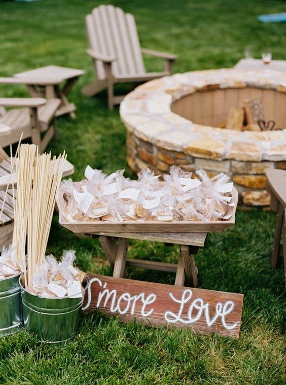 rustic fall backyard s'more wedding bar
