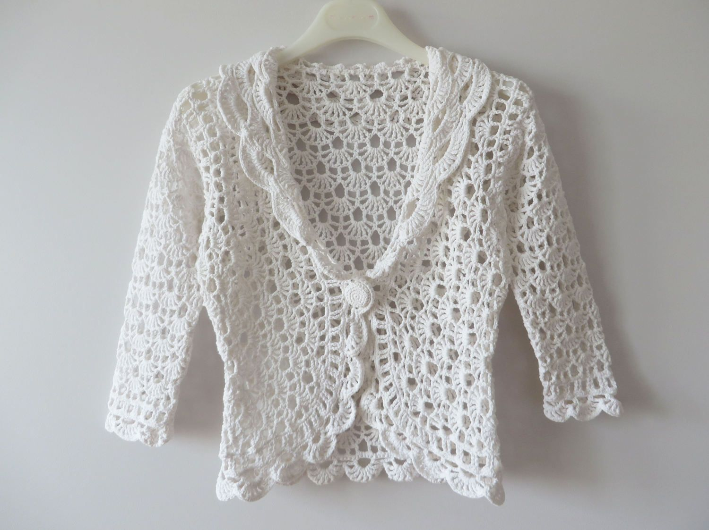White Crochet Bolero White Cotton Cardigan Women Summer Jacket