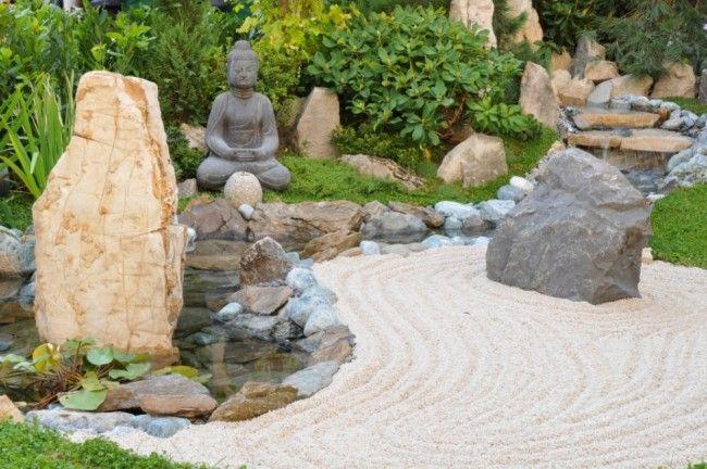 gartengestaltungsideen bilder zen garten sand stein buddha, Hause und garten