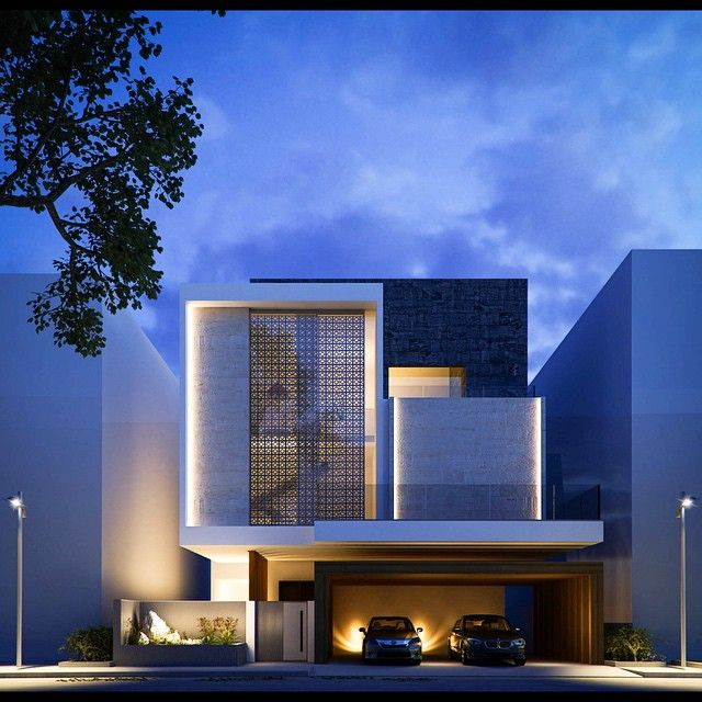 Covered minimal front facade with little touch of classic for Facade villa moderne