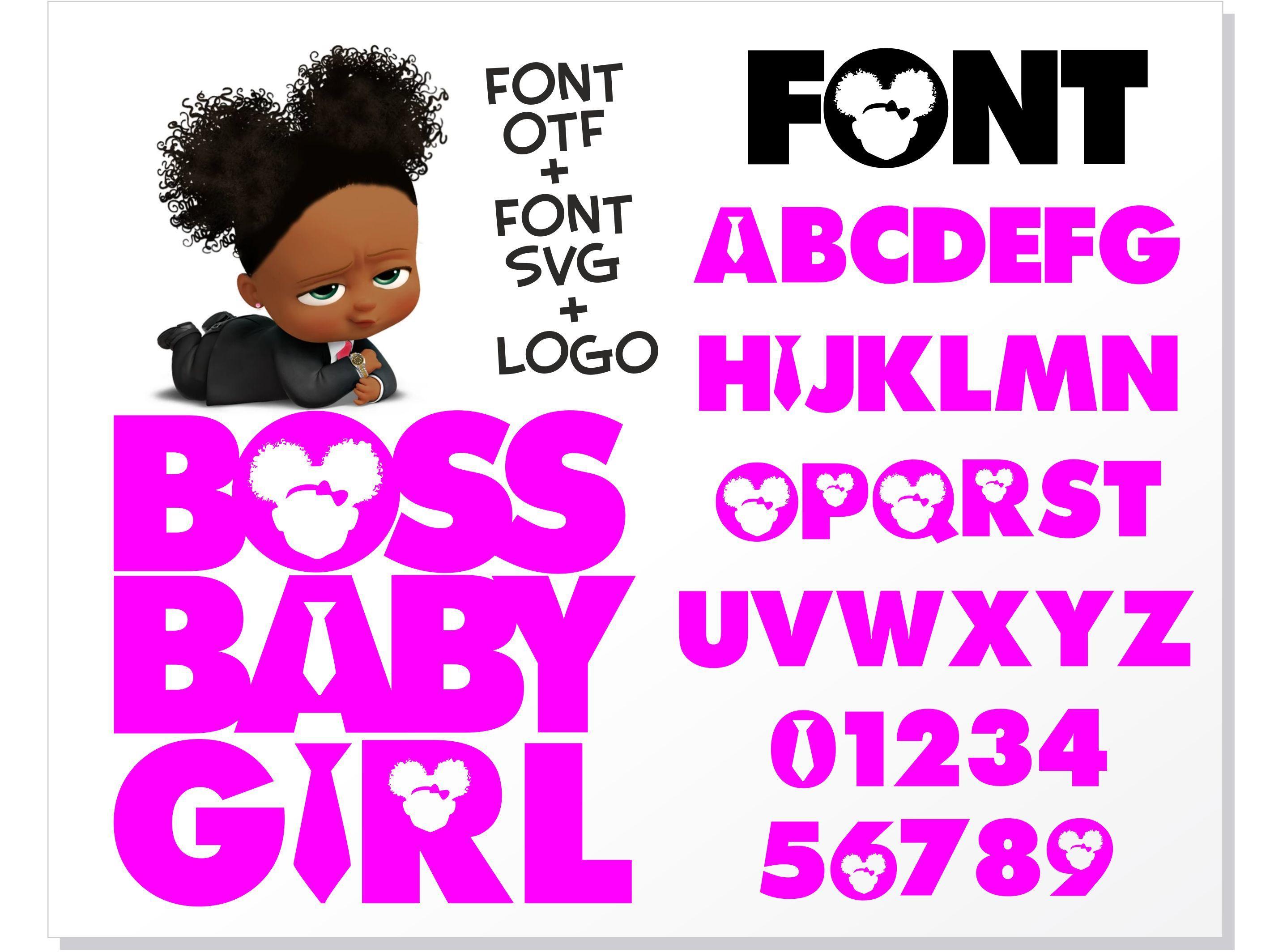 Boss Baby Girl Font Installable Font Otf Boss Baby Girl Font Svg Boss Baby Girl Logo Svg Png African American Boss Baby Girl Bundle In 2021 Boss Baby