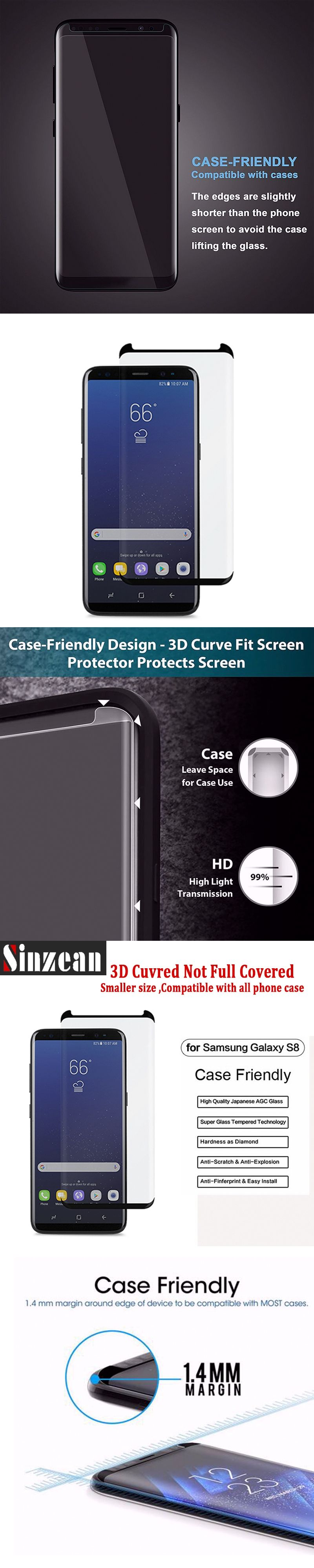 Sinzean 3D Curved Case friendly Not Full Cover For Samsung Galaxy S8 S8