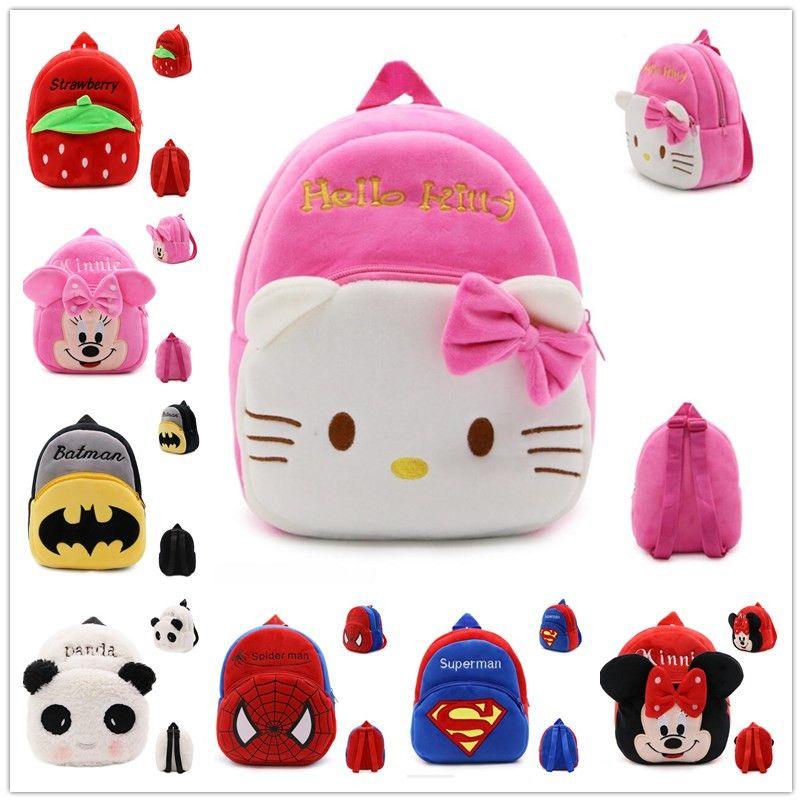 85c6471dfc Hohe Qualität Hallo Kitty/Minnie/Superman/Spider man/kinder Plüsch Rucksack  Cartoon Spielzeug Mädchen & jungen taschen