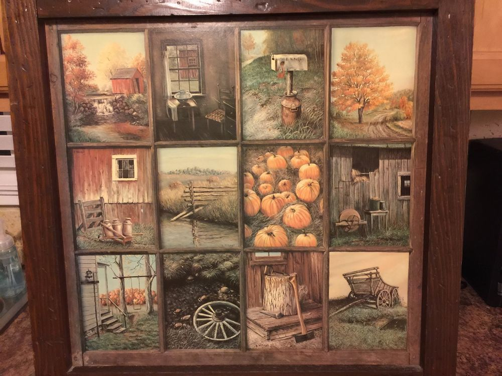 Vintage Homco Home Interior Interiors Window Pane Picture Fall Scenes B Mitchell Vintage