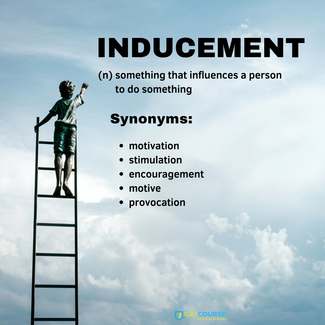 Word Of The Day Inducement Word Of The Day English Vocabulary Words Cool Words