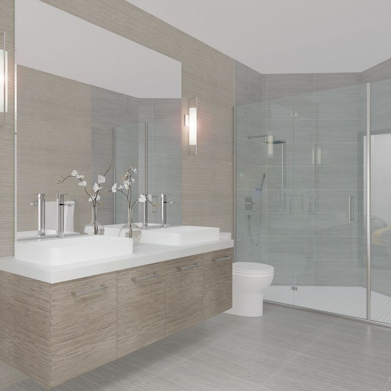pictures to hang in master bathroom%0A Contemporary Master Bathroom with Corian counters  Wall Hanging Vanities  sconce  Ege Seramik Palais Grey