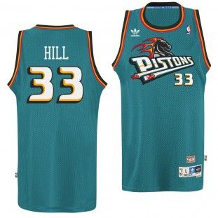 Detroit Pistons Adidas NBA Grant Hill  33 Soul Swingman Jersey (Teal ... ee19bcf571760