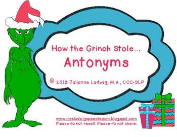 How the Grinch Stole...Antonyms! FREE | Expressive Language | Pinterest