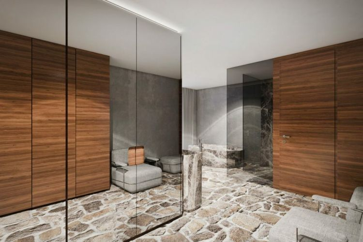 Bad Stein Bodenbelag Glasschrank Badewanne 18 | Luxus Wohnungen