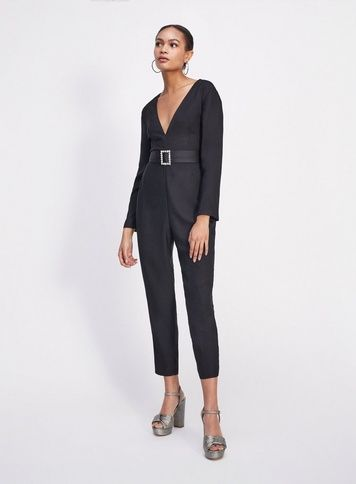 2b75b17d055 Womens Black Buckle Belted Jumpsuit in 2019
