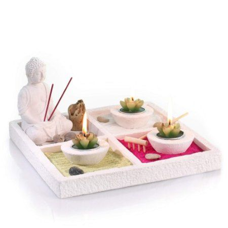 Zen Garden Set Buddha On Tray With 3 Candleholders 3 Candles 2 Incense Sticks Coloured Sand Pebbles Rake Etc Zen Garden Candle Holder Garden Colored Sand